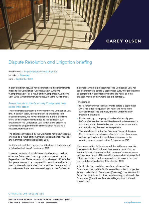 BVI Dispute Resolution & Insolvency Client Update - October 2016