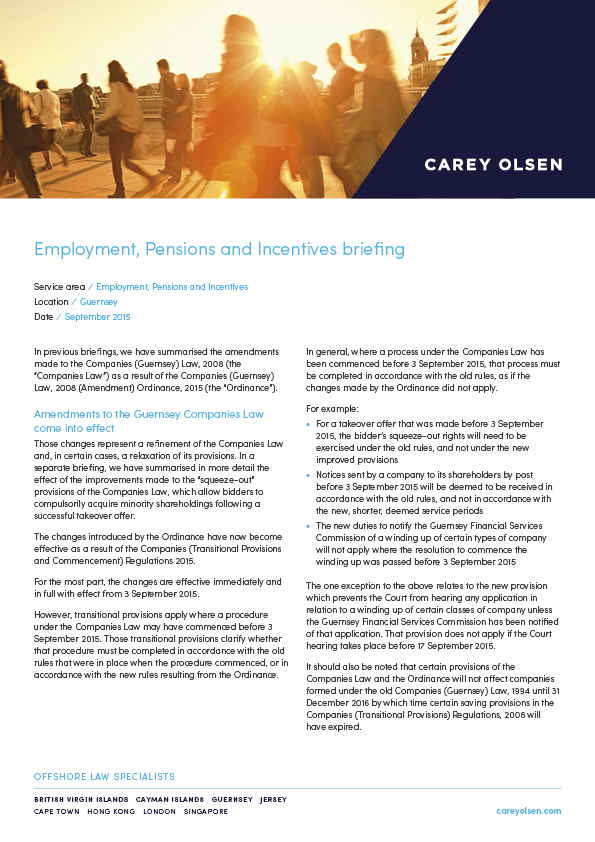 Carey Olsen Starting Point Employment Law Guide: Starting a Business in Jersey