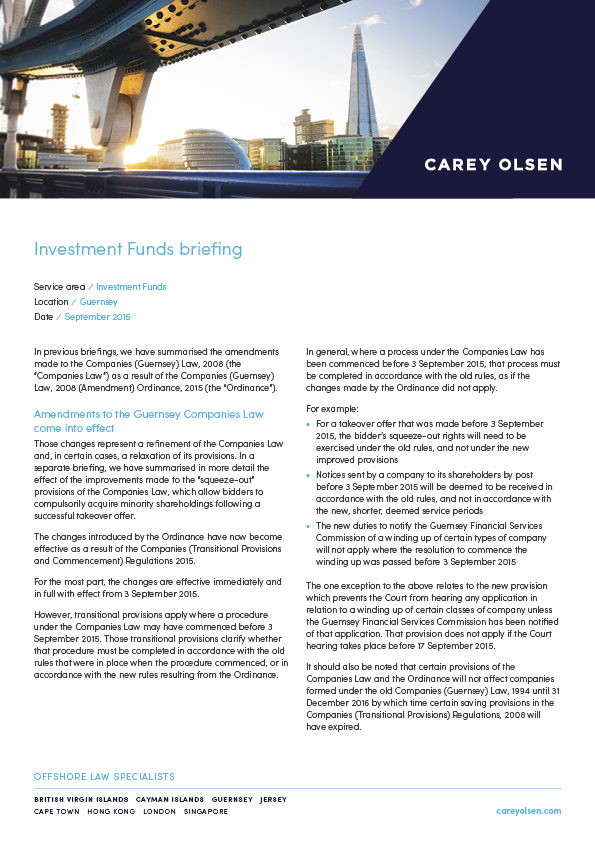 A Guide to Investment Funds in the BVI, Cayman Islands, Guernsey and Jersey (PLC Chapter)