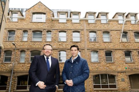 Chris Philpott and Alex Belcher outside the office premises at 5 Anley Street, Jersey